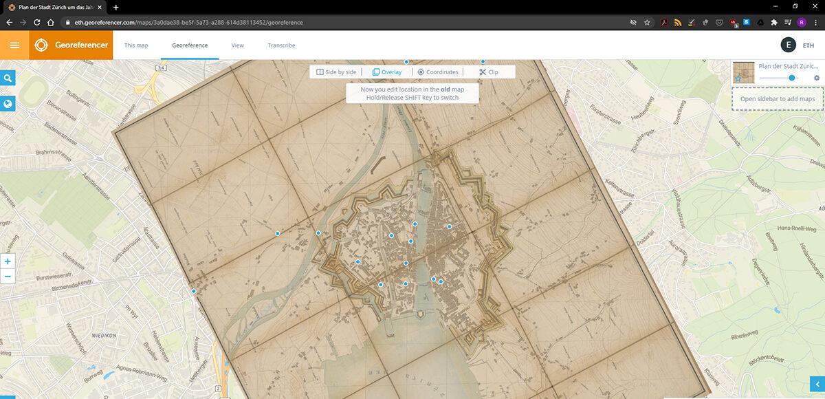 Beispiel für die Überlagerung einer vollständig georeferenzierten Karte auf Google Maps.