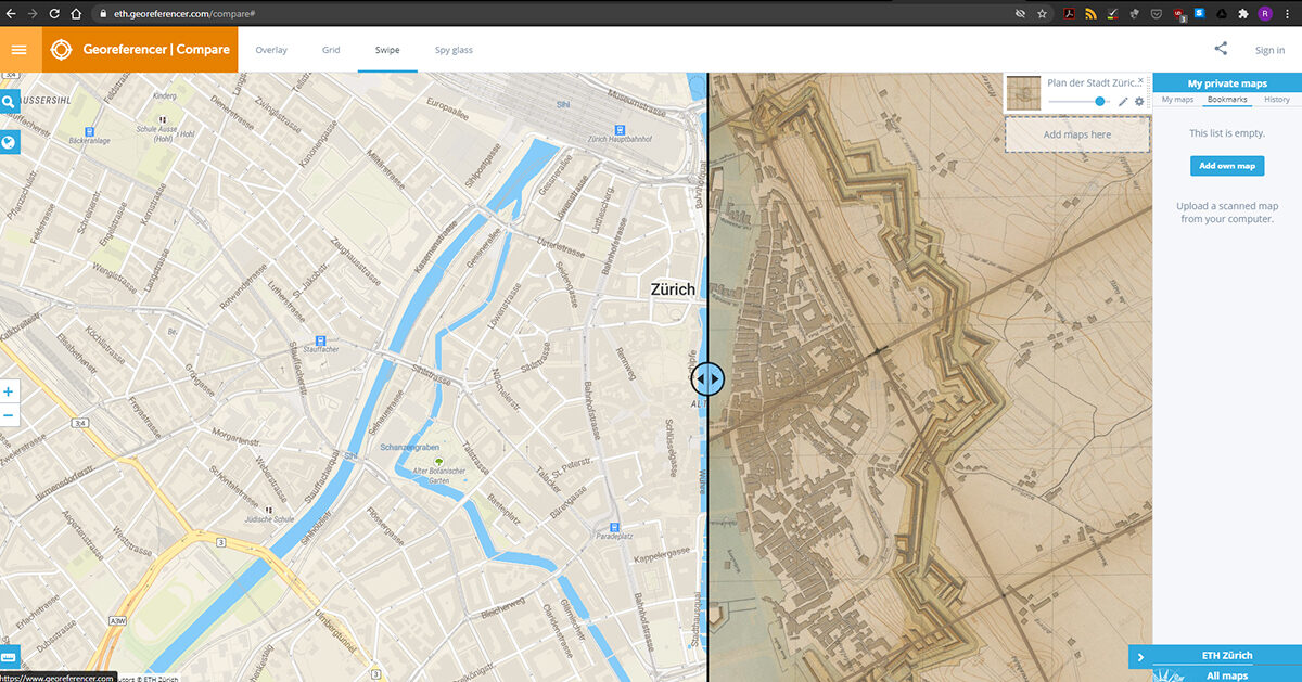 Using defined ground control points, the scanned map is translated into a virtual globe.
