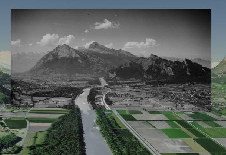 Smapshot Screenshot showing the villages Bad Ragaz and Sargans