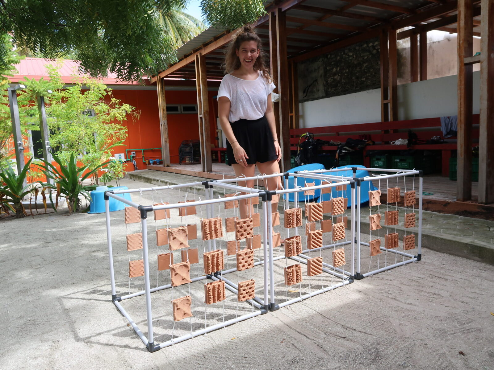 Marie Griesmar with finished prototypes in the Maldives.