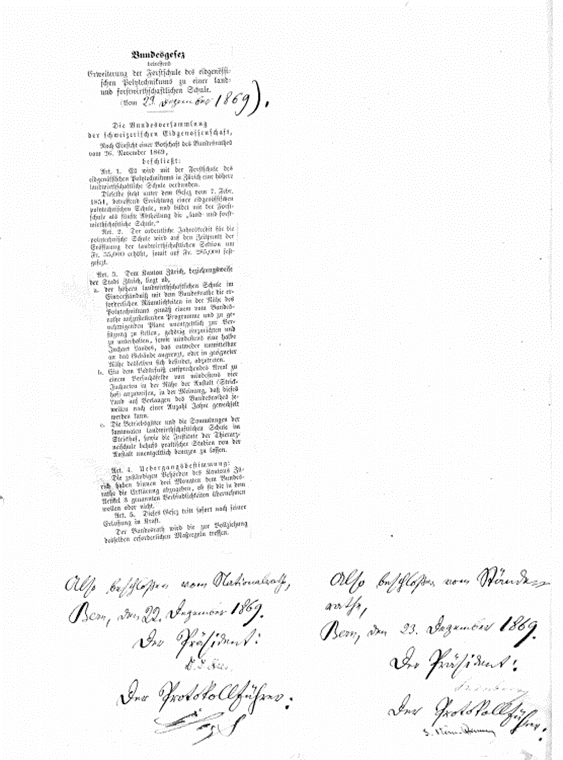 Bundesgesetz von 1869, unterschrieben von den Präsidenten und den Protokollführern von National- und Ständerat.